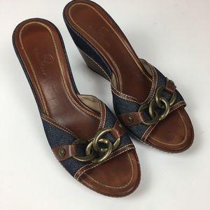 Cole Haan Women's Sandals Wedge Open Toe Denim 9